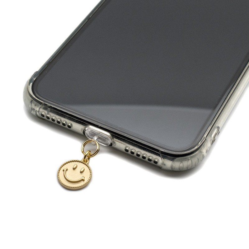 携帯ストラップ iphone スマホ イヤホンジャック ストラップ スマホピアス キャップ イニシャル スマイル スマホアクセサリー|waganse-hat|02