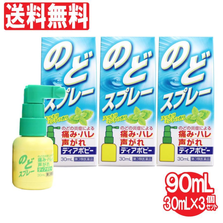 第3類医薬品 のどスプレー ポビドンヨード 喉スプレー ディアポピー 30mL×3個セット 計90mL のどの炎症 痛み 声がれ 不快感 荒れ ミントの香り 送料無料 wagonsale-kanahashi