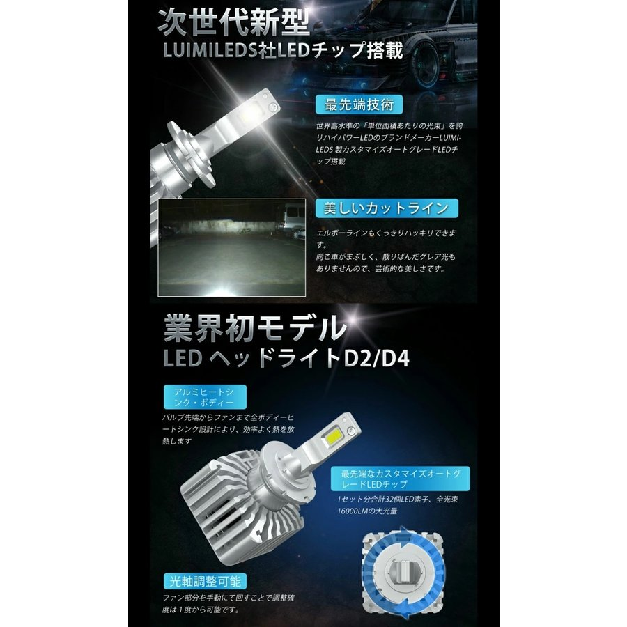 D4S/D4R/D2S/D2SR 送料無料 業界初 無加工で純正HIDをLED化 クラス最強LEDヘッドライト2個セット車検対応 6000k 16000LM 安価な類似品にご注意|waile|06