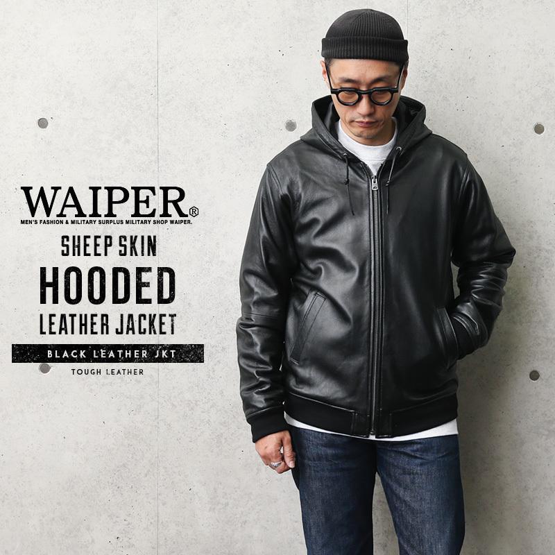 WAIPER.inc シープスキン HOODED レザージャケット(8501064) メンズ 革ジャン 本革 フーデッド フード付き アウター ミリタリー ブランド【Sx】|waiper
