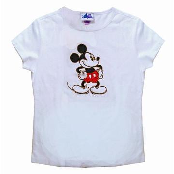 激レア カリフォルニアディズニーリゾート 50周年記念商品 金ビーズで縁取られたミッキーのTシャツ(白)キッズサイズ(XL)