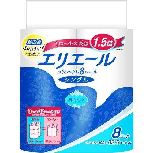 エリエールトイレットコンパクト 8R        シングル|wakeari