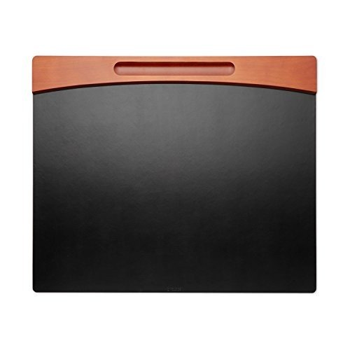 Mahogany Wood and 黒 Faux Leather Desk Pad, 23 7/8 x 19 7/8 x 11/16