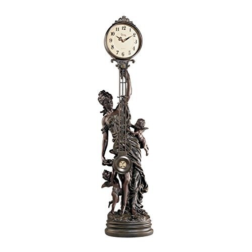 Design Toscano Grand-Scale Flora Sculptural Swinging Pendulum Clock in Antique Faux Bronze