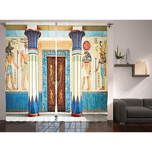 Ambesonne Apartment Decorコレクション、パネルカーテン 2枚セット 窓周りの装飾 リビングルーム 寝室用