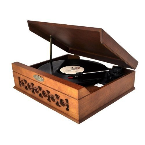 Pyle Vintage Style Phonograph/Turntable With USB-To-PC Connection (Dark Maple) by Pyle