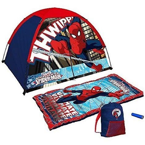 Exxel Exxel Marvel Ultimate Spiderman Tent and Sleeping Bag 4 Piece Fun Camping Kit