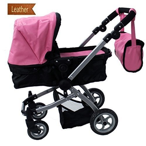 Babyboo Luxury Leather Look Doll Pram with Swiveling Wheels & Adjustable Handle and Free Carriage