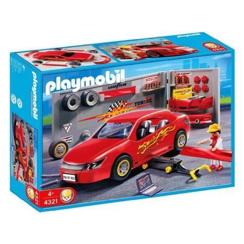 プレイモービル 赤いスポーツカーのガレージ 4321