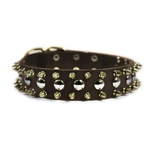 Dean & Tyler ゴールドen Spike Dog Collar with Spikes/Studs/Brass Buckle 36 by 1-1/2-Inch 褐色