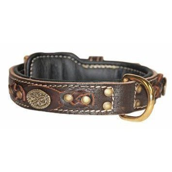 Dean & Tyler Dean's Legend Leather Dog Collar with 黒 Padding and Solid Brass Hardware 30 by 1-