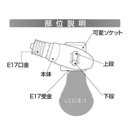 LEDライト ムサシ RITEX E17 LED電球専用 可変式ソケット(DS17-10) 斜め付けダウンライト 台風 災害 wakui-shop 03