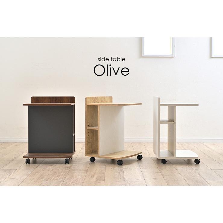 テーブル ナイトテーブル サイドチェスト カフェテーブル ベッド ソファ キャスター付き マガジンラック ミニデスク サイドテーブル Olive(オリーブ) 3色対応|wakuwaku-land|04