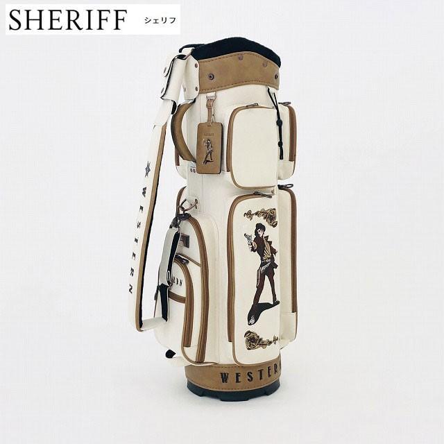 SHERIFF シェリフ ゴルフ 帆布キャディバッグ ウエスタンシリーズ SFW-009 口枠5分割 9.0型 Beige/Camel