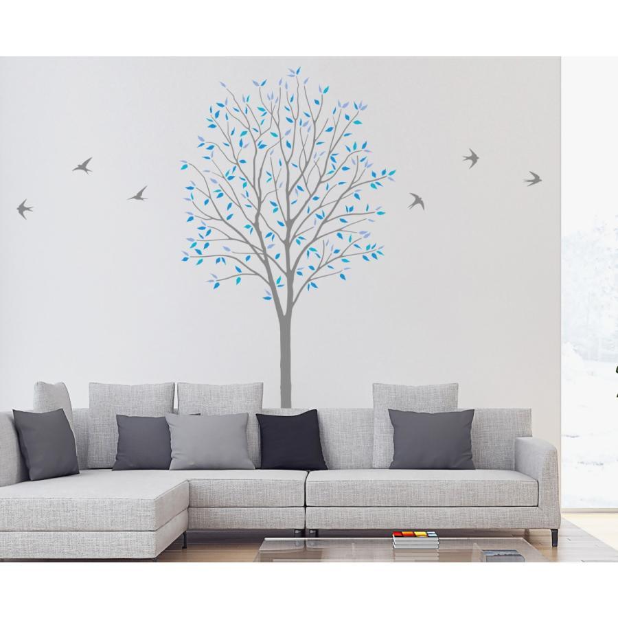 本州送料無料 ウォールステッカー「木とツバメ ブルー Lサイズ」 大判 転写 賃貸OK シール 植物 木 木 鳥 壁デコ 人気商品 ナチュラル