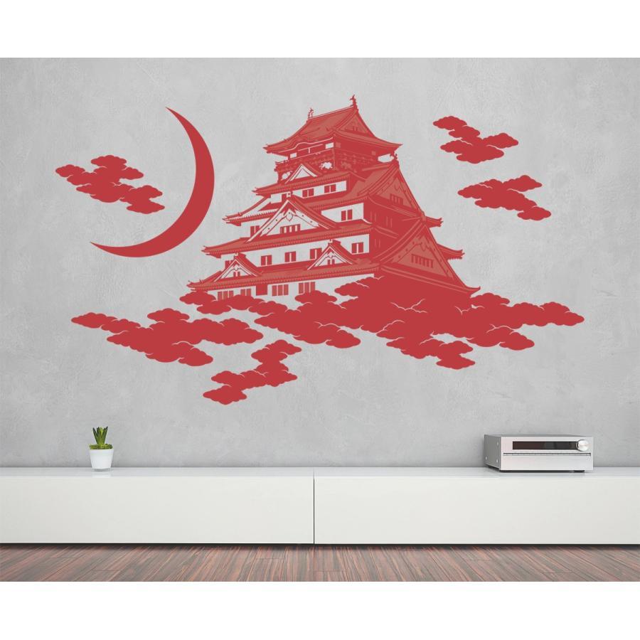 本州送料無料 ウォールステッカー「大阪城 赤紅 Lサイズ」 大判 転写 賃貸OK シール 壁デコ 和風 和室 お城 日本 おしゃれ
