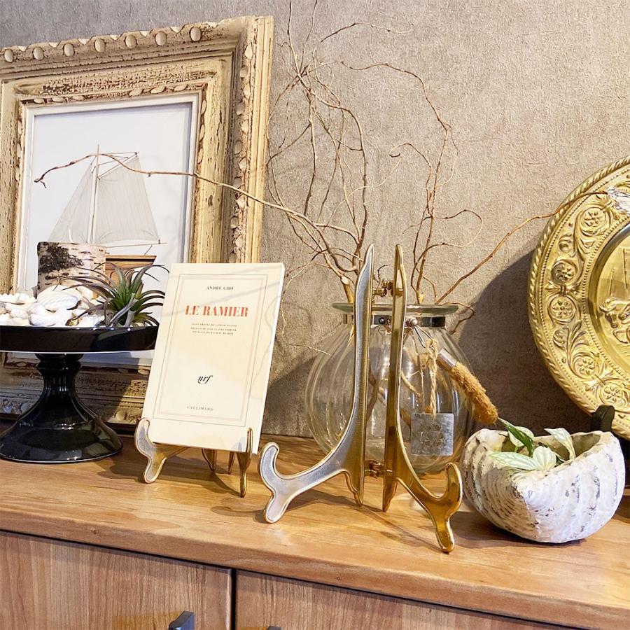 皿立て 飾り皿 アンティークスタンド 真鍮 SSサイズ (直径10cm〜13cm程度のお皿向け) インテリア雑貨 wanizou 08