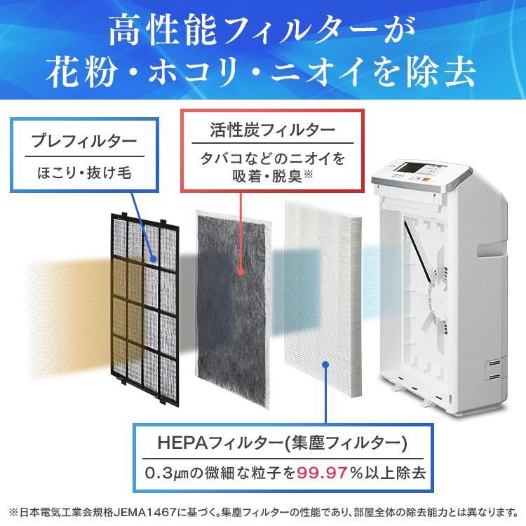 空気清浄機 ほこり におい 浄化 急速清浄 アレルギー アイリスオーヤマ モニター付き空気清浄機 25畳 ホワイト MSAP-DC100|wannyan|10