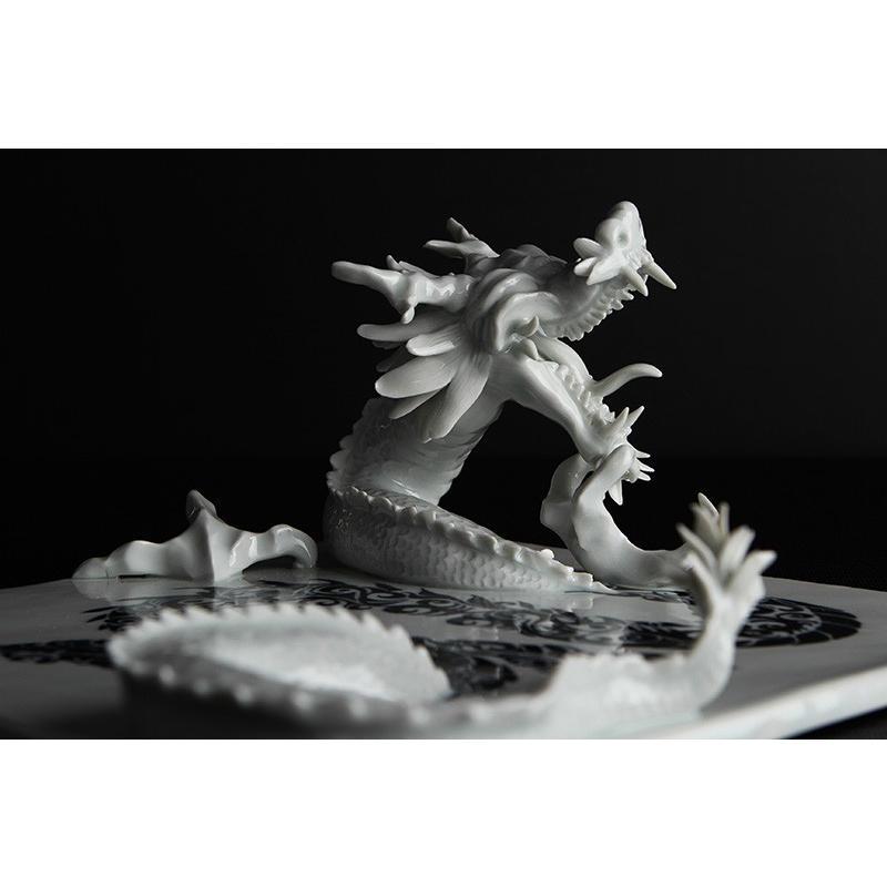 砥部焼 おしゃれ 【ドラゴンプレート】 龍 シェンロン 置物 オブジェ 窯元 和将窯 ブランコネグロ Washo-910|wapal|05