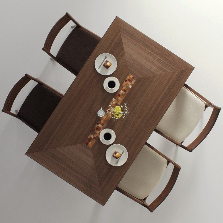 ダイニングテーブル 食堂テーブル ウォールナット材 カラフル インレイ 木製 天然木 和モダン 日本製 国産 デザイン 北欧 モロッコ 送料無料