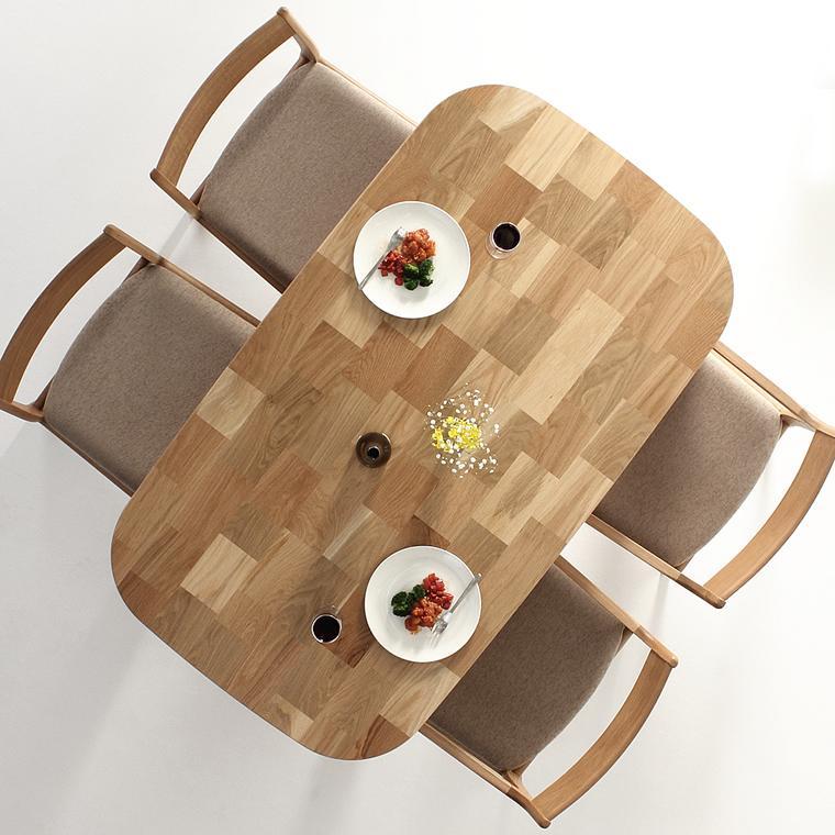 ダイニングテーブル 食堂テーブル ホワイトオーク材 ナラ材 木製 天然木 無垢材 日本製 国産 デザイン 北欧 手作り デザイン 送料無料