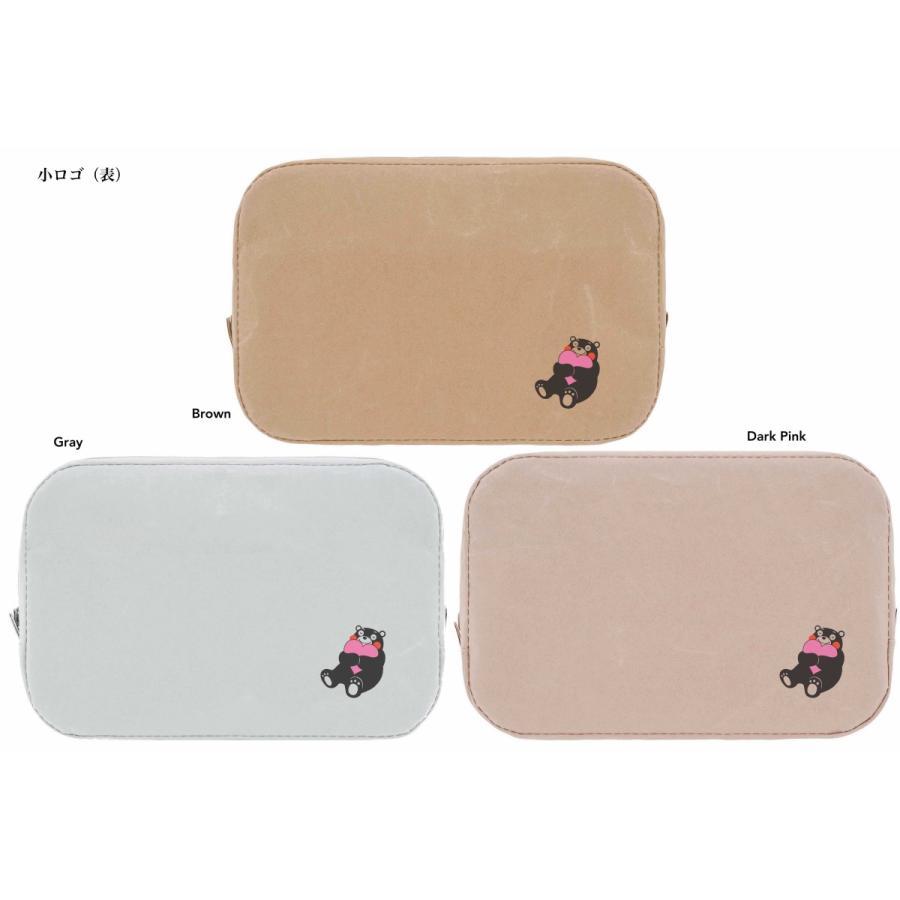 C-WASAMON スクエアポーチ グレー 灰色 ブラウン 茶色 ダークピンク 桃色 くまモン 和紙 丈夫 軽い エコ プレゼント ギフト ポーチ トラベル 化粧品 かわいい|wasamon|02