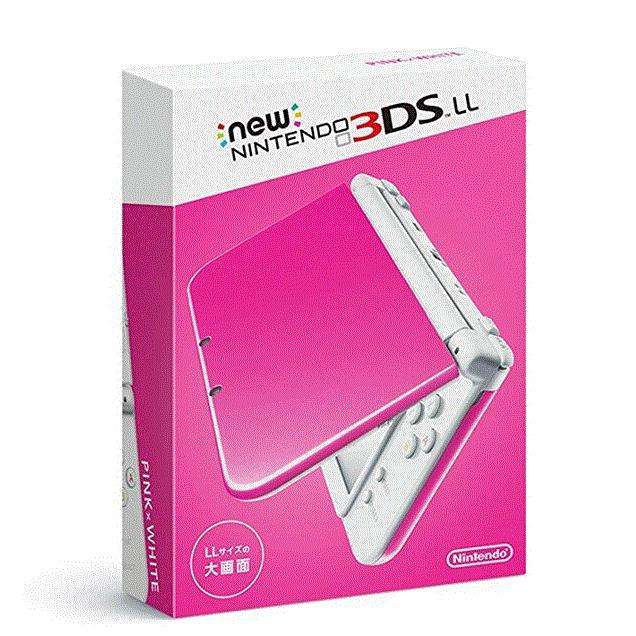 送料無料 きれいな ニンテンドー new NINTENDO 3DS LL ピンク×ホワイト 赤-S-PAAA