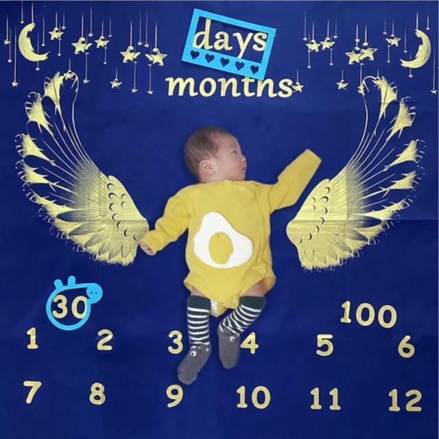 寝相アート ブランケット 全6種 ベビー 赤ちゃん 記念日 100日 ハーフバースデー フォト ラグ マット シーツ お昼寝アート 出産祝い|watchshop-hanna|10