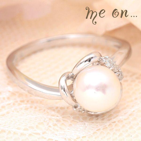 定番  【me on...】K18ホワイトゴールド(WG)一粒パール&ダイヤモンドリング, THE DIY DEPOT:c6182968 --- airmodconsu.dominiotemporario.com
