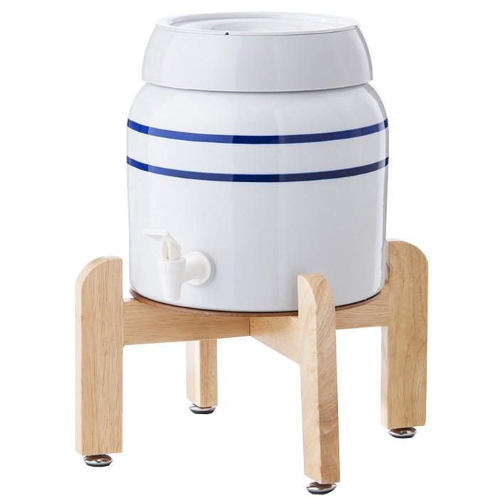 陶器製サーバー スプリングウェル(ノンスピルタイプ)ウォーターサーバー 常温 陶器製 木製スタンド付き 卓上 waterea
