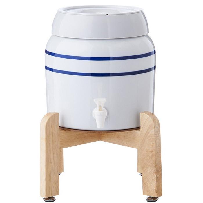 陶器製サーバー スプリングウェル(ノンスピルタイプ)ウォーターサーバー 常温 陶器製 木製スタンド付き 卓上 waterea 03