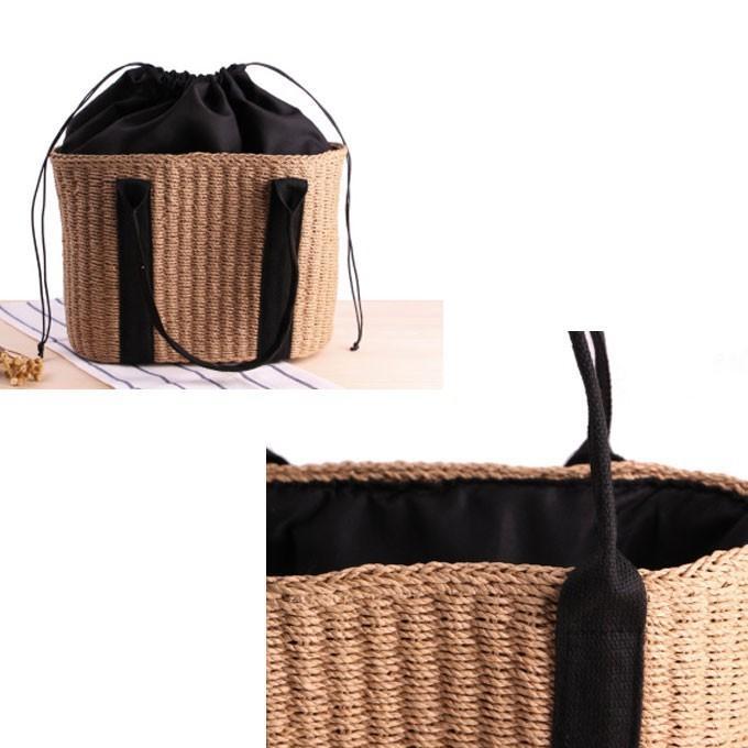 バッグ かごバッグ ショルダー ストローバッグ カゴ バスケットバッグ トートバッグ 巾着付き A4|wc-y|13