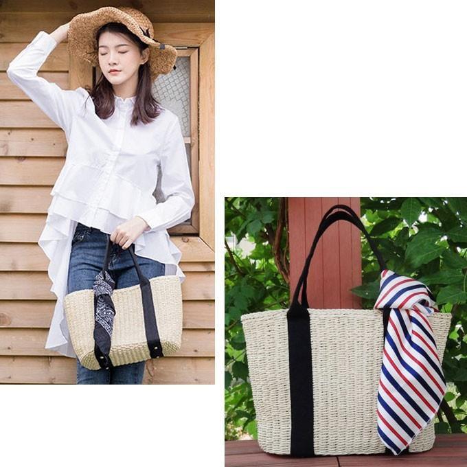 バッグ かごバッグ ショルダー ストローバッグ カゴ バスケットバッグ トートバッグ 巾着付き A4|wc-y|14