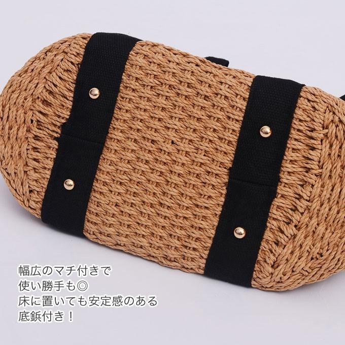 バッグ かごバッグ ショルダー ストローバッグ カゴ バスケットバッグ トートバッグ 巾着付き A4|wc-y|10