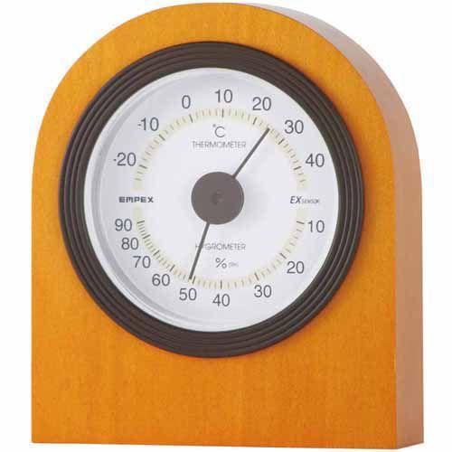 激安 温湿度計 メープル仕上 (クリアボックスパッケージ) EMPEX TM-6829 エンペックス ベルモント-健康管理、計測計