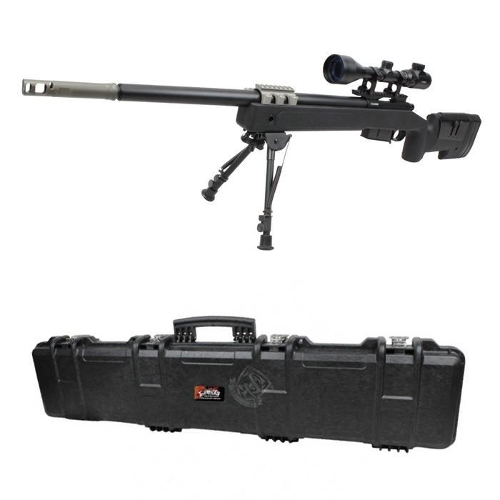 【店内全品2%OFF!】【バイポッド&スコープ&ハードケースセット】S&T M40A5 エアーコッキング ライフル BK【180日間安心保証つき】
