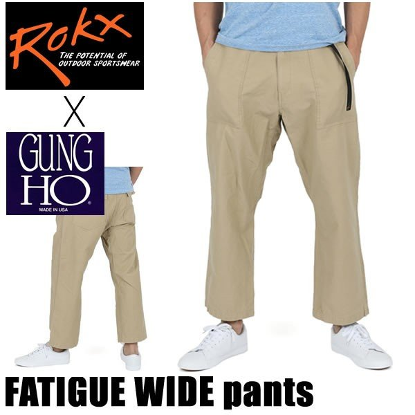 rokx ロックス x ガンホー コラボモデル パンツ  FATIGUE WIDE PANT ファティーグワイド RXMS8891 アーミーベージュ ARMY BEIGE rokx パンツ