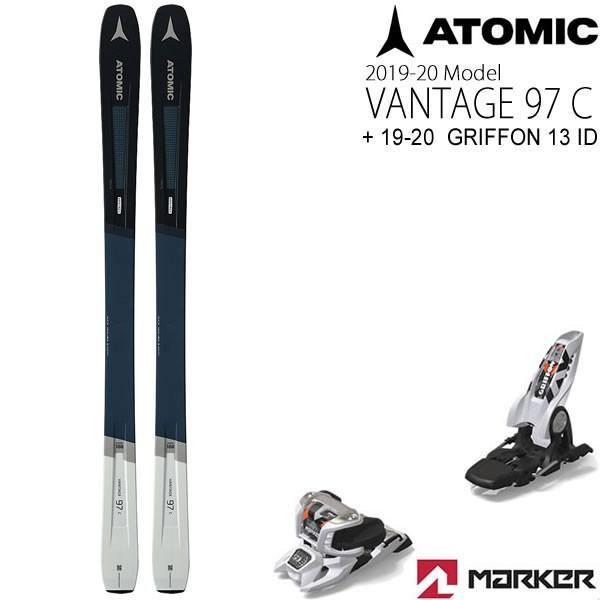 アトミックスキー板 2020 VANTAGE 97C + 20 マーカー GRIFFON 13 ID ブラック 100mmブレーキ スキーセット バンテージ97C 19-20 atomic スキー板 【L2】