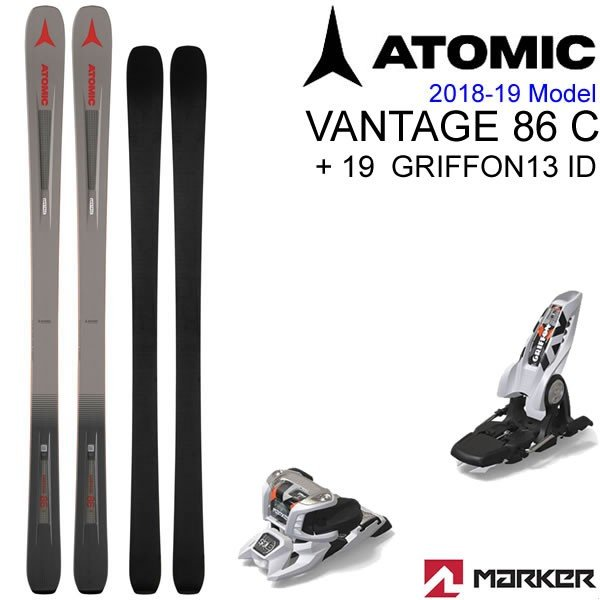 アトミックスキー 2019 VANTAGE 86 C + 19 マーカー GRIFFON 13 ID ホワイト 90mmブレーキ スキーセット バンテージ 86 C アトミック スキー板 18-19