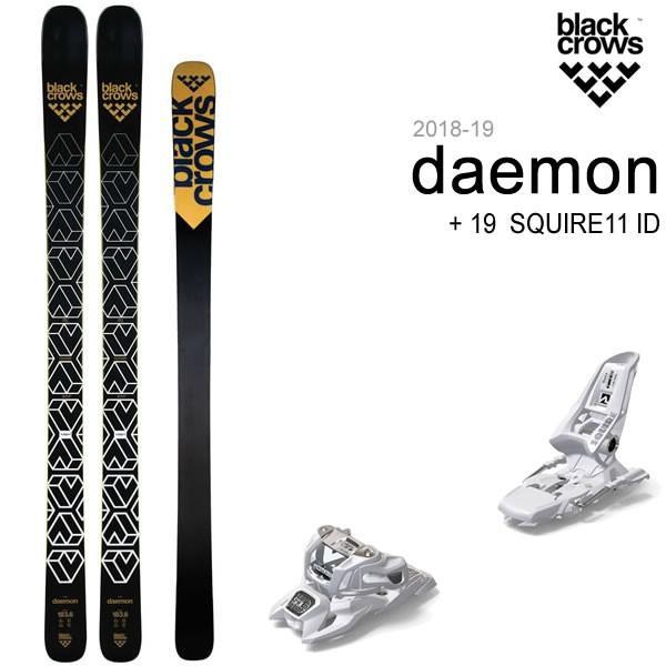 黒CROWS SKI 2019 DAEMON + 19 マーカー SQUIRE 11 ID ホワイト 110mmブレーキ スキーセット デーモン 18-19 ブラッククロウズ スキー板 /L2