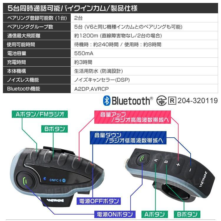 バイク インカム インターコム イヤホン Bluetooth ブルートゥース ワイヤレス  1200m通話可能 5人同時通話可能 weimall 07