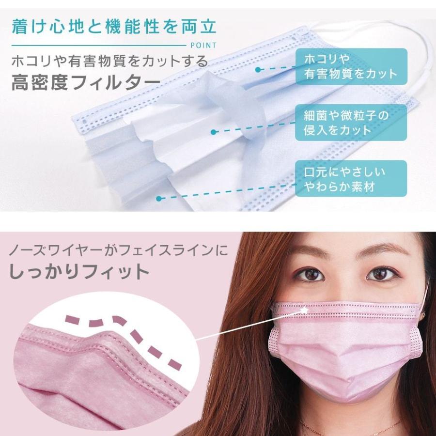 マスク カラー 50枚 全16色 平ゴム 99%カットフィルター 耳が痛くならない 使い捨てマスク 使い捨て ゆうパケット 送料無料 予8 予15 weimall 09