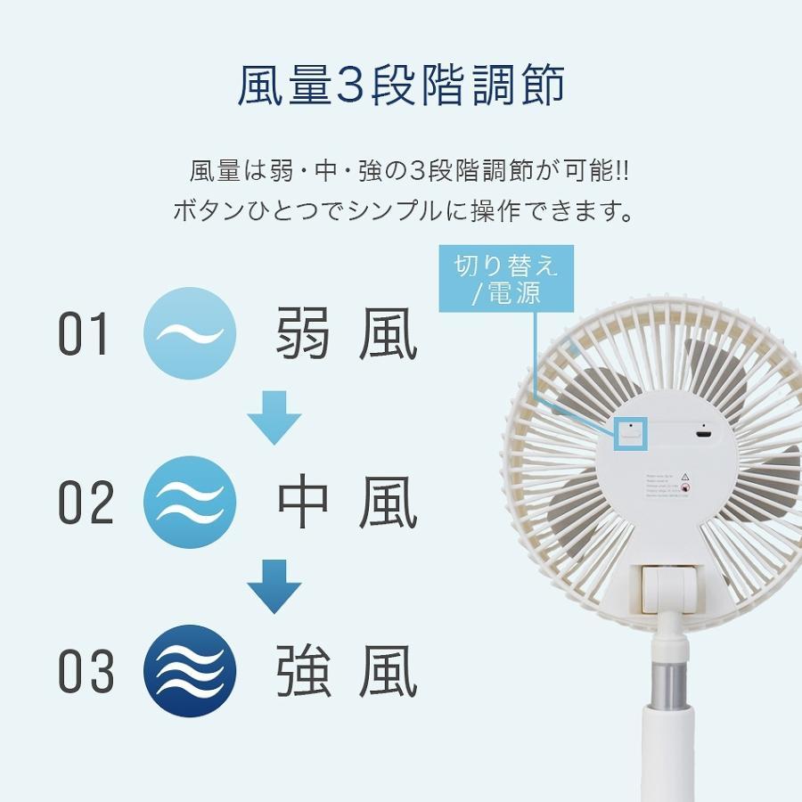 扇風機 クリップ式 首振り 3WAY コードレス ハンディ 充電 クリップファン USB 卓上 壁掛け 軽量 5枚羽 コンパクト 熱中症対策 WEIMALL weimall 07