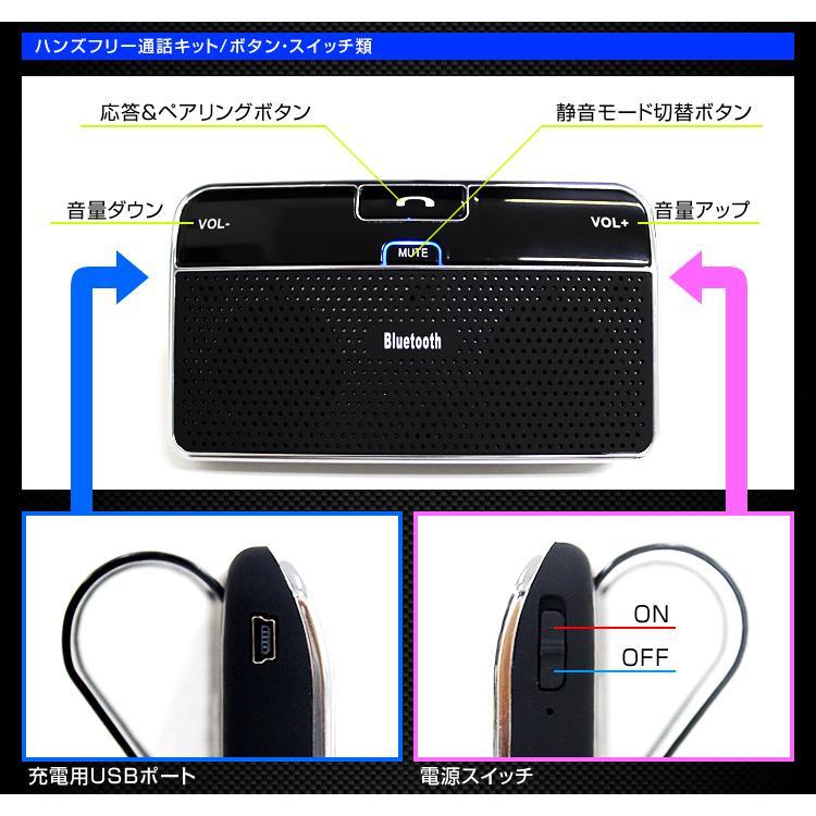ハンズフリー 車載  bluetooth ハンズフリーキット ワイヤレス 車内通話 音楽再生 iPhone Android スマートフォン 対応|weimall|09