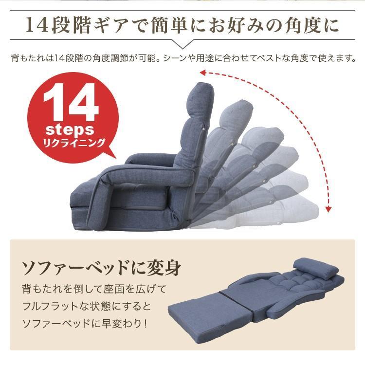 座椅子 リクライニング 肘掛け付き 日本製ギア ハイバック 全2色 ソファベッド クッション付き 一人掛け ソファ 新生活 コンパクト WEIMALL weimall 04
