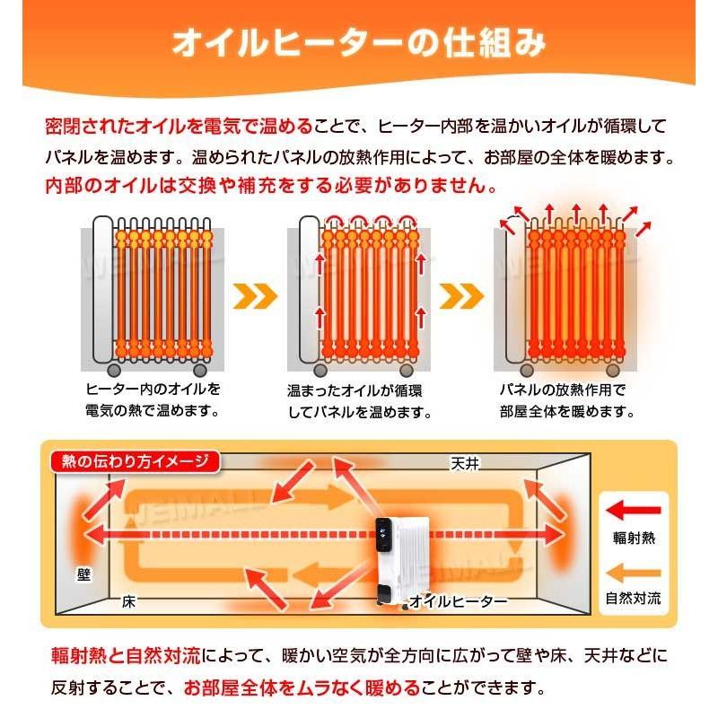 オイルヒーター 11枚 リモコン付 省エネ 暖房 エコモード タイマー ストーブ 8畳 11畳 安全 暖房器具 3段階切替式 WEIMALL weimall 05
