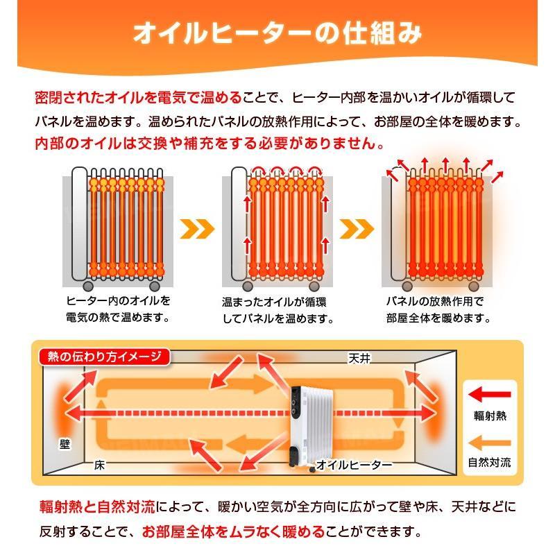 オイルヒーター 9枚 省エネオイルヒーター 静音 暖房 ストーブ 6畳 8畳 対応 安全 暖房器具 3段階切替式 WEIMALL|weimall|05