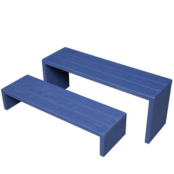 Welcome Wood フラワースタンド ウッドステージ WSW902LM-GB ワイド 2台セット 色はガーデンブルー