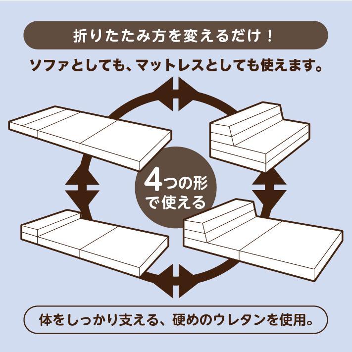 ソファベッド 折りたたみ シングル 4way 厚さ10センチ 硬め 日本製 キルト加工 ブラウン 圧縮《ソファマットレスS BR》 well808 04
