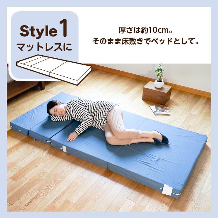 ソファベッド 折りたたみ シングル 4way 厚さ10センチ 硬め 日本製 キルト加工 ブラウン 圧縮《ソファマットレスS BR》 well808 05